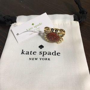 Kate Spade Shore Thing Pave Crystal Crab Ring 7